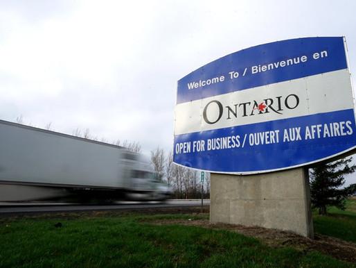 Ontario levantará las restricciones fronterizas interprovinciales con Quebec y Manitoba