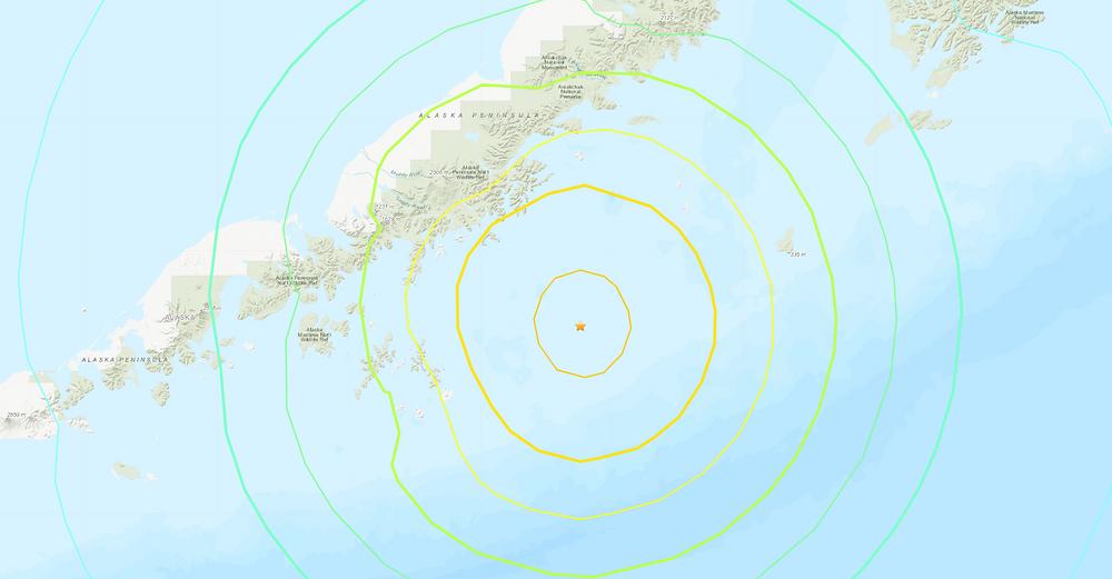 Una imagen del Servicio Geológico de EE. UU. Muestra dónde se produjo un terremoto frente a la costa de la península de Alaska el miércoles 28 de julio por la noche (cortesía de USGS).