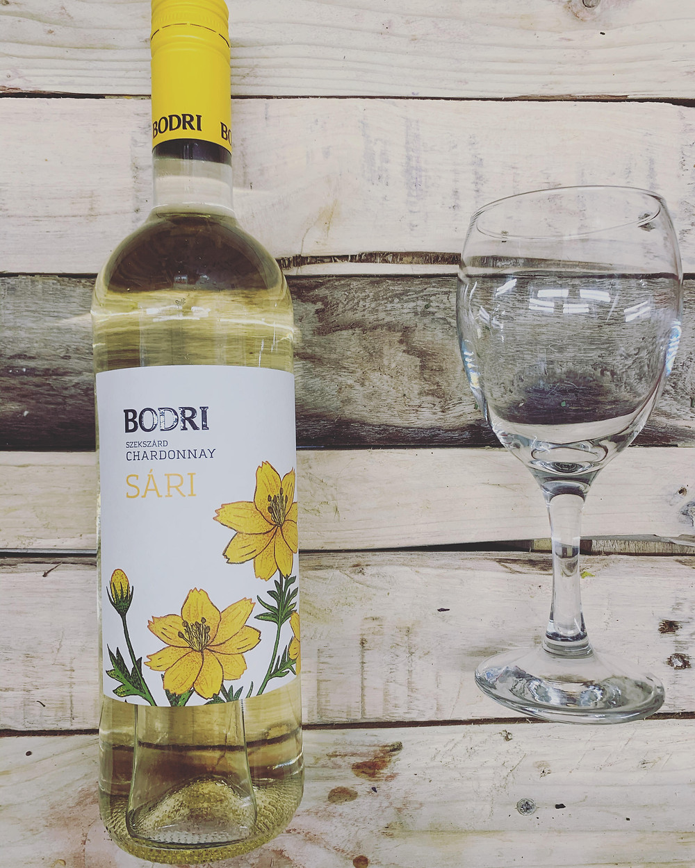 "delicious white wine from Bodri vineyards- Chardonnay ""sari"" wine"