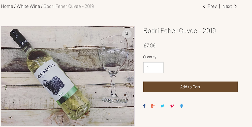 Bodri Feher Cuvee - 2019     Dry white wine , round blend of white wines with fine acidity  being composed mainly of Welschriesling.     A great companion to starters made of vegetables or eggs, as well as fish and poultry     Best served at 10°C-12°C  750ml  12.5% ABV