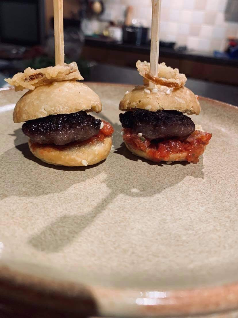 canapes on arrival are served with a glass of prosecco. todays choice was Venison Donner kebab, with cucumber raita, scorpian Chilli sauce and Nasturtium leaves from nurtured in Norfolk
