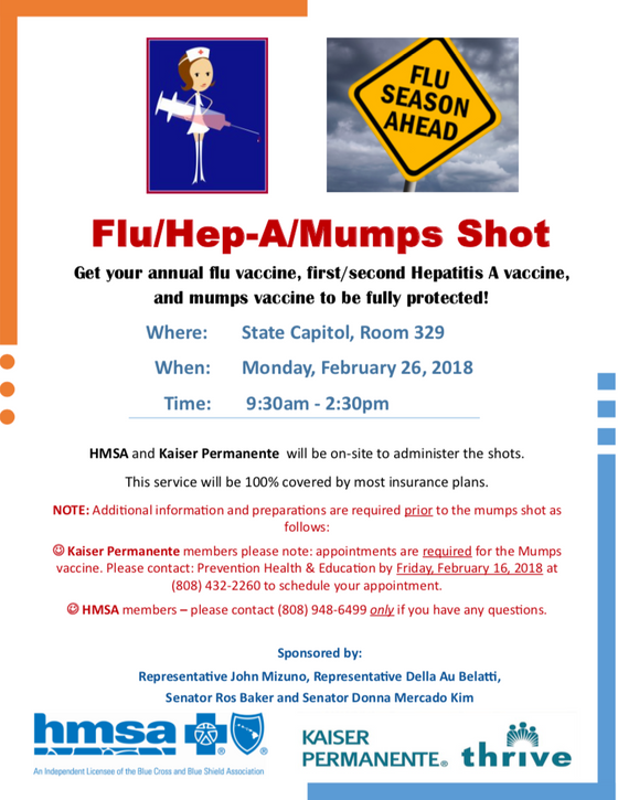Need A Flu / Hep A / Mumps Vaccine?