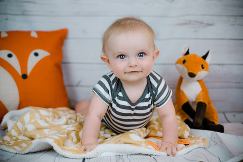 Jude and the Fox | 6 month portrait session | Portland Family Photographer