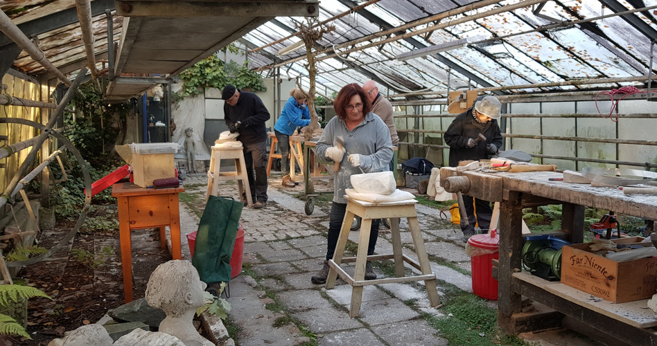 Blick in die Werkstatt im Glashaus in Recklinghausen.