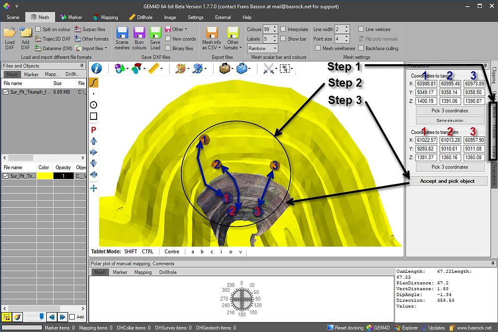 GEM4D photogrammetry transformation steps