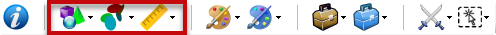 The top toolbar buttons that behaves differently to the other buttons
