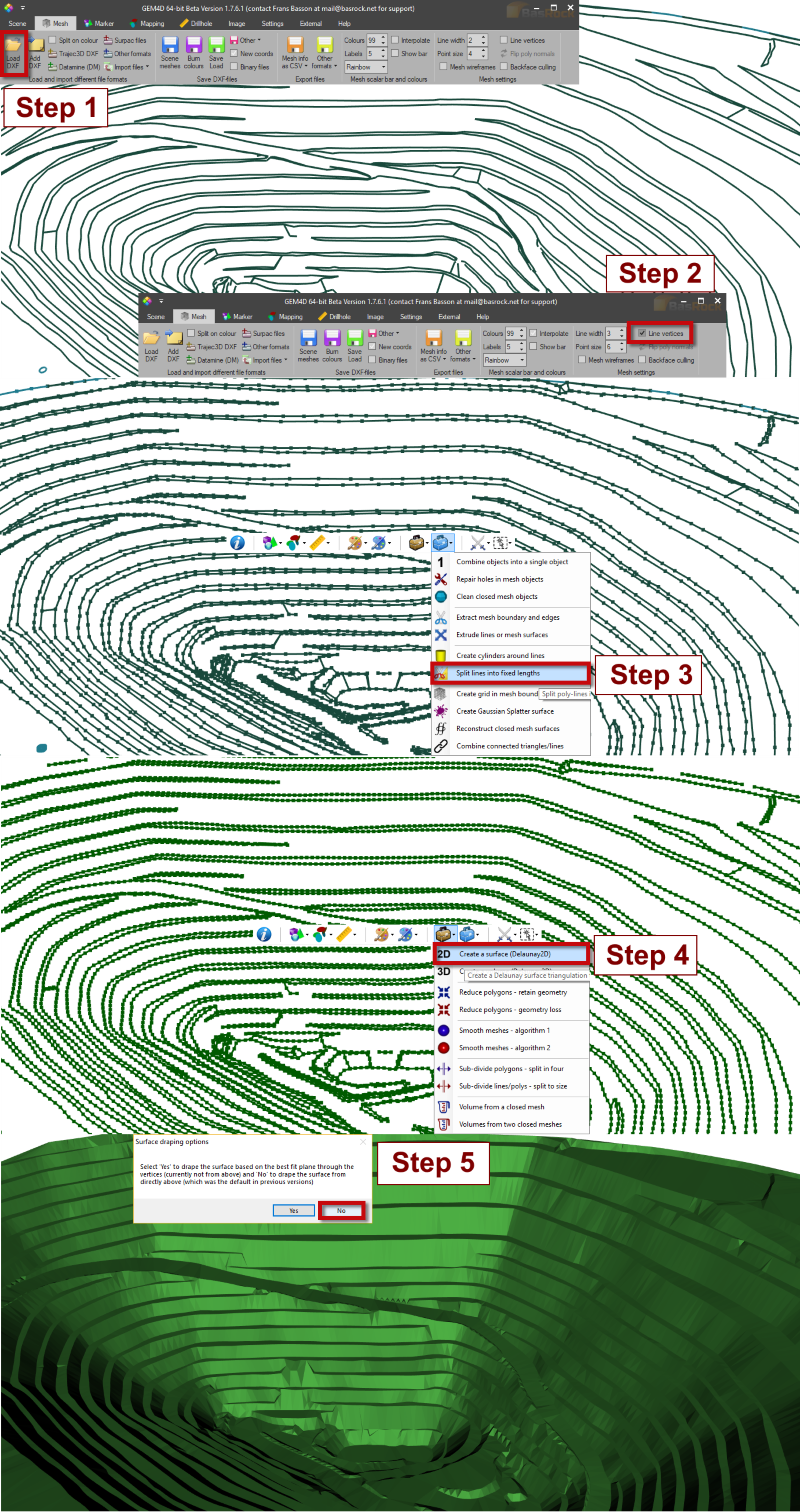 Use GEM4D to create a surface mesh from a lines file