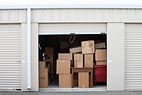 Boxes in storage. Moving services