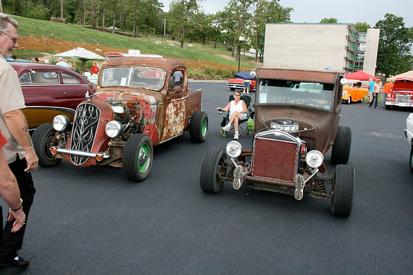 Two of Dale's Custom Rat Rods that usually at Sleds Midwest