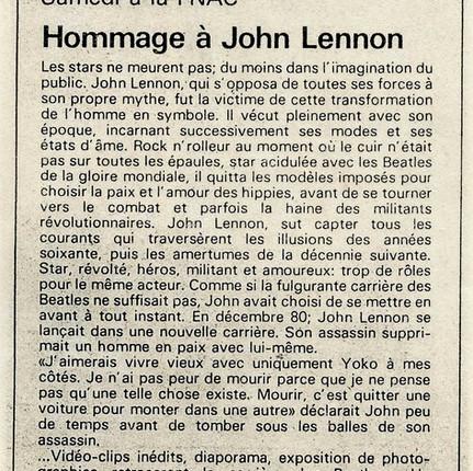 Hommage John Lennon FNAC ALSACE Février  1984