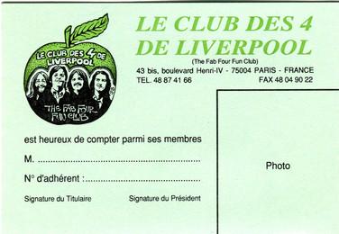 Jean Solé Carte adhérent du  Club des 4 De Liverpool