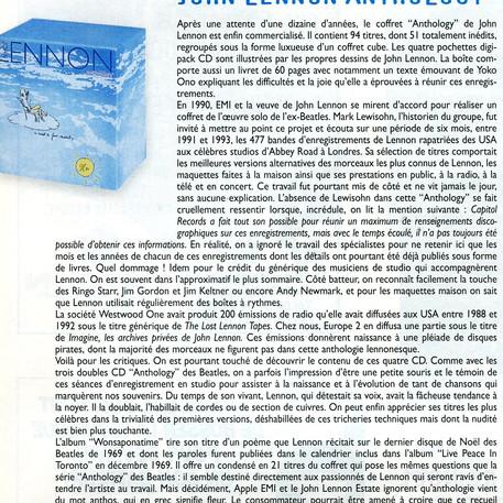 John Lennon Anthology Batteur magazine Numéro 118 décembre 1998
