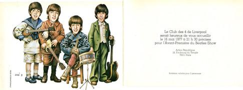 Carte d'invitation pour la première du Beatles Show en 1977 signée Jean Solé