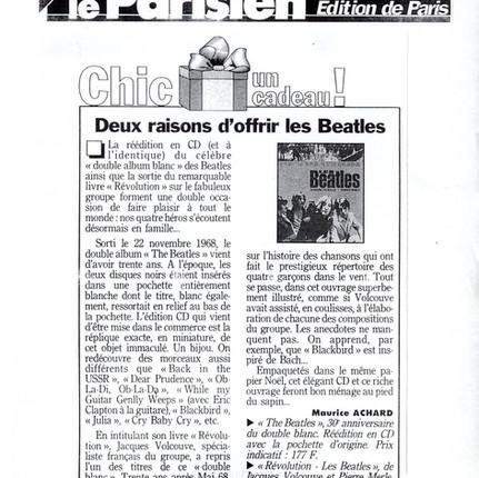 Le Parisien 30_11_1998 critique Revolution les Beatles