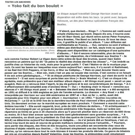 Jacques Volcouve Yoko fait du bon boulot DNA 14-12-2005