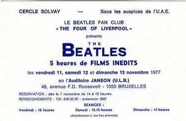 Beatles Show Bruxelles ULB 11_13 novembre 1977