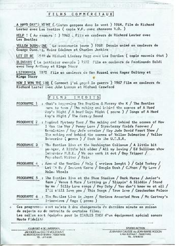Beatles Show 18 mai - 7 juin 1977 programme