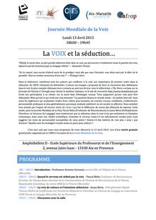 Journée Mondiale de la Voix 2015 : Voix & Séduction.