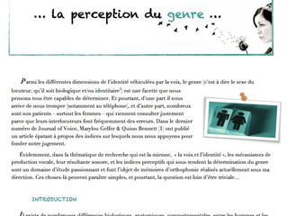 Newsletter n°3 | Novembre 2013 |La perception du genre…
