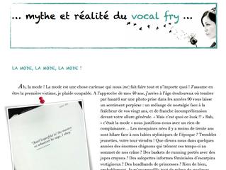 Newsletter n°8 | Mai-Juin 2014 |Mythe et réalité du vocal fry