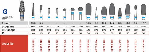Burs - Carbide Cutters - Cross Cut HP - CX74G/060
