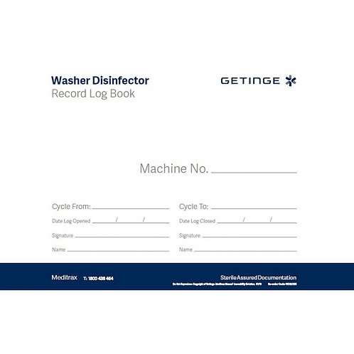 Washer Disinfector Record Log Book (Getinge)