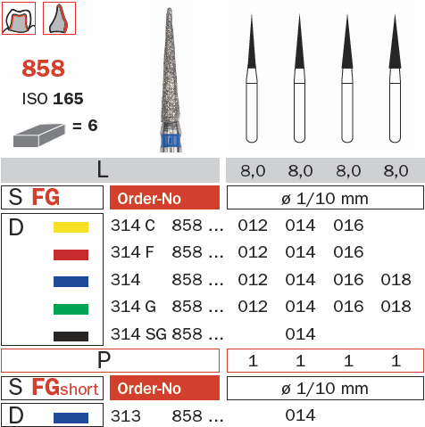 Burs - Diaswiss Diamond FG - 858 FG - Pkt/10