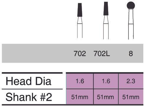 Burs - Sterile Surgical 51mm Shank #2 Carbide - Pkt/10