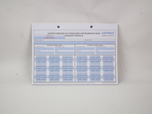 Surgery Patient Record Sheet Pad (Getinge)