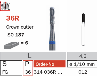 Burs - Diaswiss Crown Cutter FG - 36R 314 012 - Pkt/10