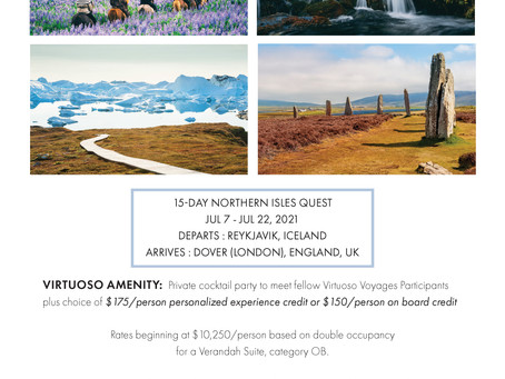 Join Trav-ellen' Inc. July 7th to 22nd as we sail from Reykjavik to Dover aboard the Seabourn Quest