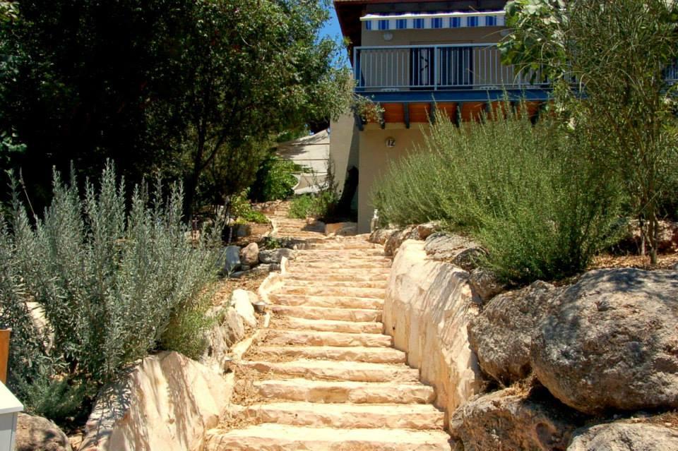 מדרגות אבן בגינה טבעית - טבעון