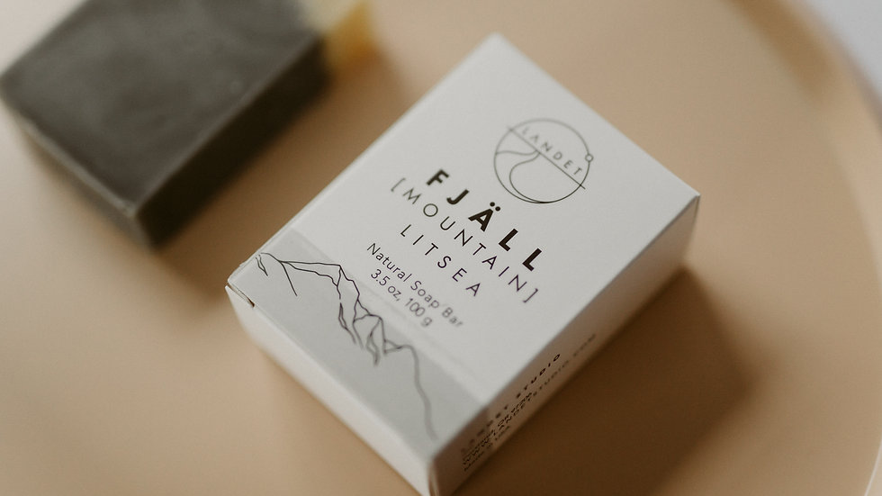 FJÄLL - LITSEA ESSENTIAL OIL, CHARCOAL, HANDMADE BAR SOAP.