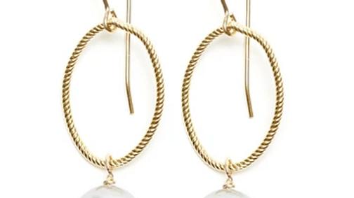 Sofie Earring, Silver/Grey Pearl