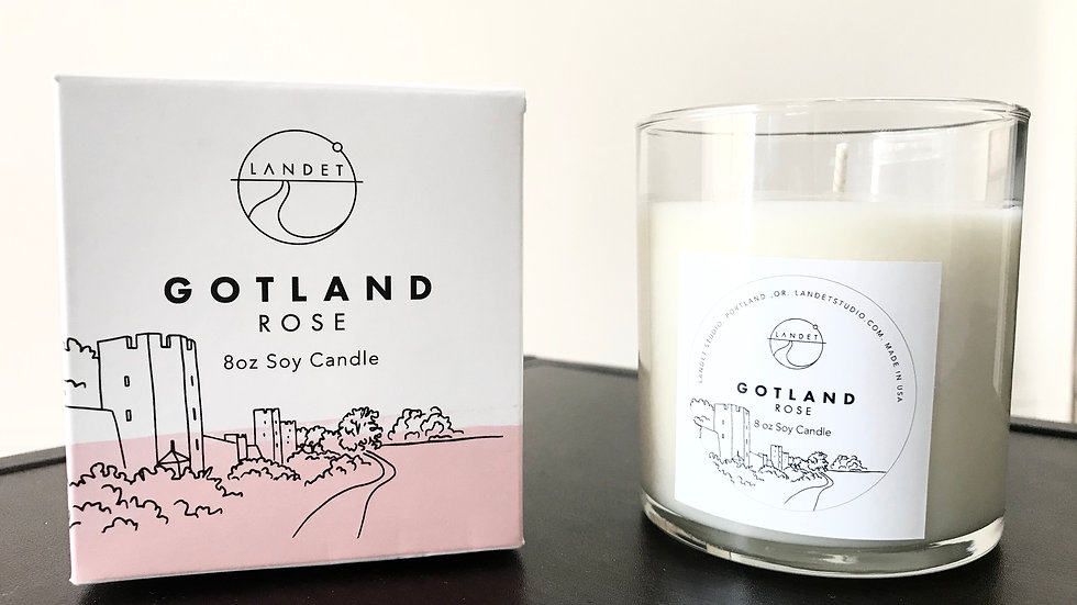GOTLAND - ROSE, HAND POURED SOY CANDLE, 8OZ.