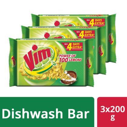 Vim Dishwash Bar 200 g (Pack of 3)