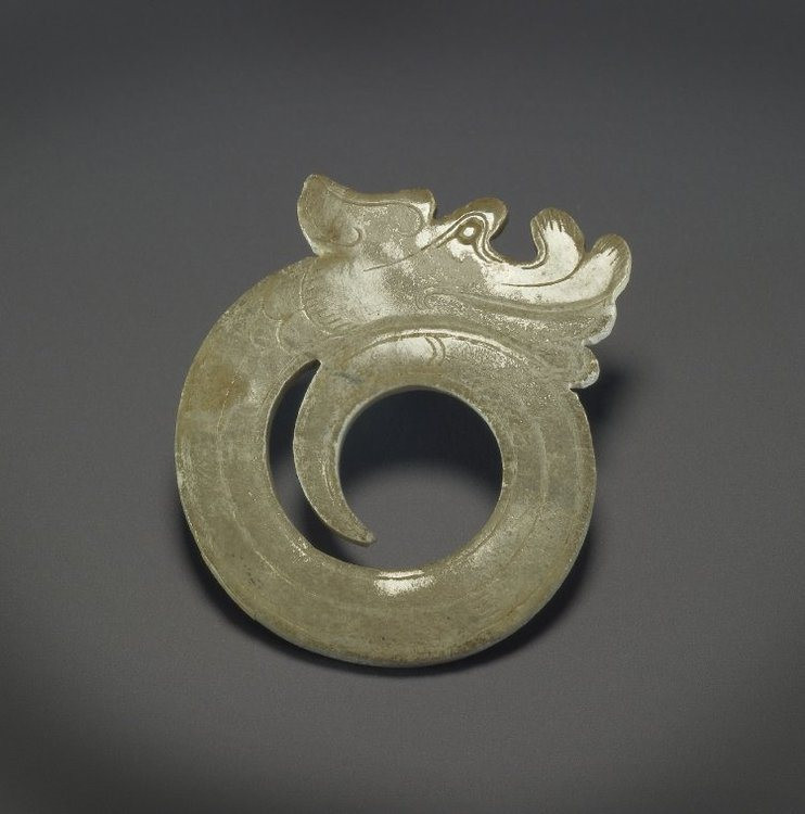 A carved jade dragon. Han dynasty, 2nd-1st century BCE. From the British Museum, London