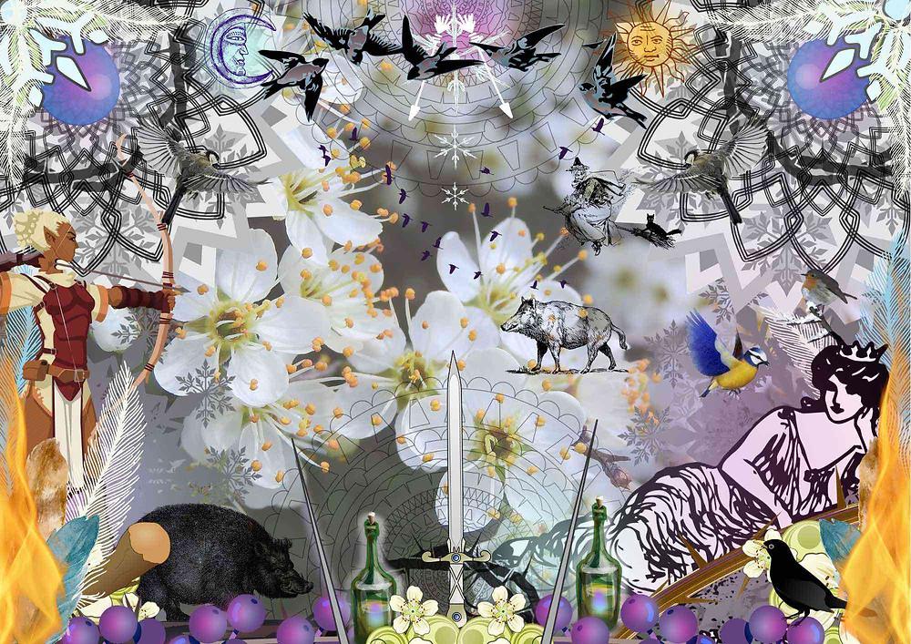 Hawthorn spiritual illustration by Amanda Claire Vesty