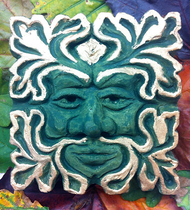 Small Gilded Traditional Square Green Man