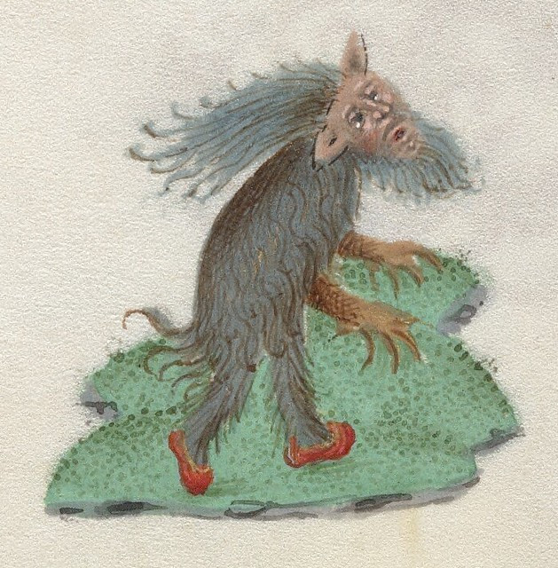 woodwoose, wild man, ghent school 15th century manuscript