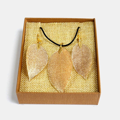 Real Leaf Jewellery Set - Gold