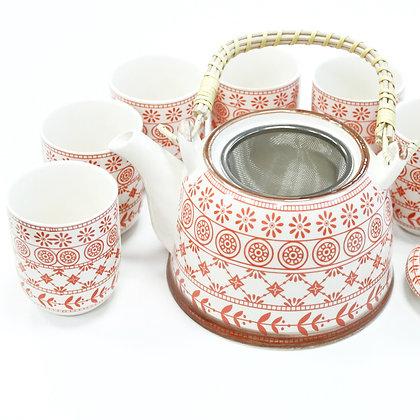 Herbal Teapot Set in Red & White