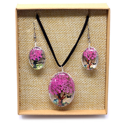 Pressed Flowers Earring & Necklace Set