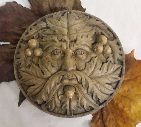 Round Oak Man in Brown with Gold Acorns
