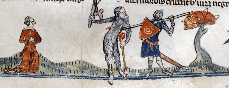Smithfield Decretals, France (Toulouse?), c. 1300-c. 1340 woodwose wild man