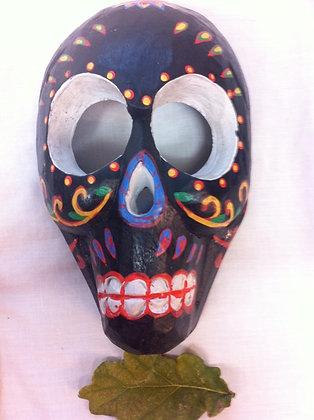 Fair Trade Wooden Black Skull Mask