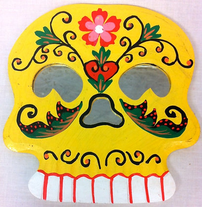 Fair Trade Yellow Wooden Skull MIrror