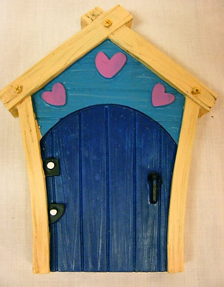 Blue Fairy Door With Hearts