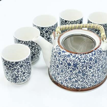 Herbal Teapot Set in Blue & White