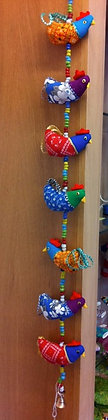 String of Fair Trade handmade chickens with a bell at the bottom